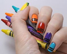 crayon nail art, crayola crayons paintings, nail art black tips, crayola nails, nail arts