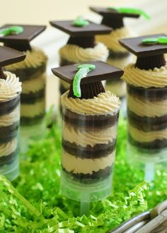 Absolutely the cutest way to celebrate graduation...Mortar Board Peanut Butter Cup Push-Pops by Bake at 350