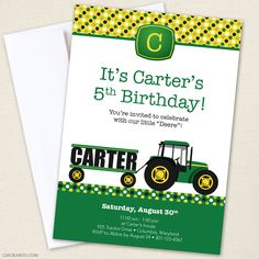 Tractor Party Invitations - professionally printed or DIY printable - Chickabug.com