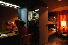 An Alaskan ferry stateroom holds bunk beds, chairs, and a compact bath, June 1965.Photograph by W.E. Garrett, National Geographic