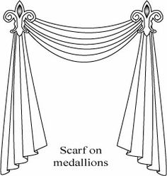 How to Hang a Curtain Scarf on medallions.