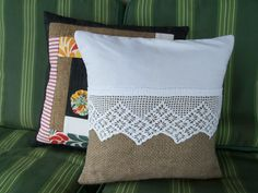 cushion cover from burlap coffee bag and vintage white crocheted edging via Etsy.
