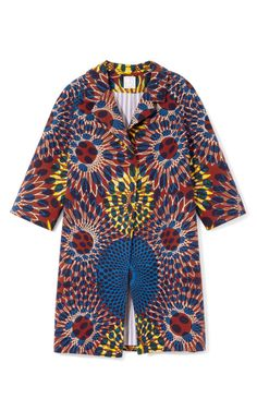 Printed Wax Cotton Coat by Stella Jean Available on Moda Operandi