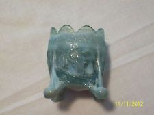 Vintage BOYD Toothpick Holder OLD SLEEPY EYE Indian Blue Opalescent/Slag