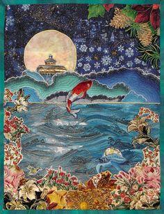 Koi Moon by Elizabeth Sylvan    Asian inspired  fantasy art quilt