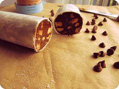Chocolate Salami with Almond Biscotti - chocolate truffle. $12.00, via Etsy.