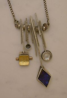 Necklace | Ramsey Hall.  Sterling silver, gold and stones
