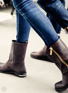 Biker meets a glint of gold in the Tory Burch Elyse Bootie