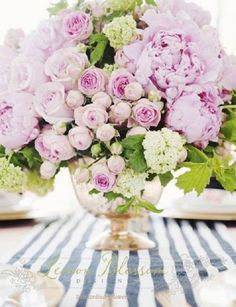 Love this peony arrangement! floral centerpieces, pink flowers, bouquet, spring weddings, color, roses, floral arrangements, stripes, pink peonies
