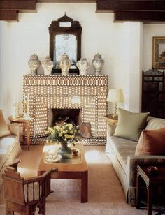 Gorgeous Moroccan design by Bill Willis. Love that fireplace! decor, boho chic, living rooms, moroccan design, fireplaces, pattern design, fireplace design, inspir, bill willi