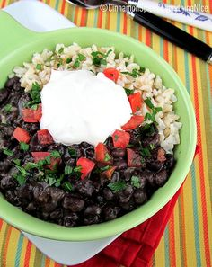 Cuban-Style Black Bean and Rice Bowls  So happy to have found this! I love eating black beans like this when I am travelling in Miami and wanted to know how to get them so dreamy creamy :-)