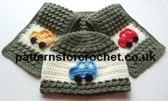 Child's hat & scarf set with car motifs free crochet pattern patterns from http://www.patternsforcrochet.co.uk/hat-scarf-usa.html #crochet #patternsforcrochet