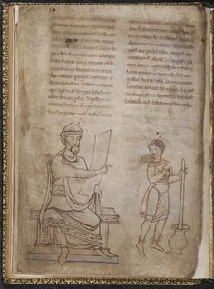 Physician mixing medicine, late 12c. British Library. Especially like the way the assistant's cote is drawn and short hose shown rolled at the knee.