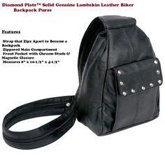 Diamond Plate™ Solid Genuine Lambskin Leather Biker Backpack Purse