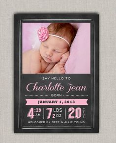 Chalkboard Birth Announcement. $15.00, via Etsy.