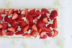 Marzipan Tart with Strawberries, Elderflower and White Chocolate Recipe (Gluten-Free) by Chocolat