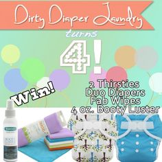 . diaper giveaway, 4th birthday, cloth diapers, happy birthdays, contest, babi, win, ddl, laundry