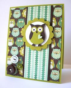 Stampin Up: Owl Builder Punch. Nice layout but maybe the owls in the background as well are a bit too much. Like the button cluster in the bottom corner.