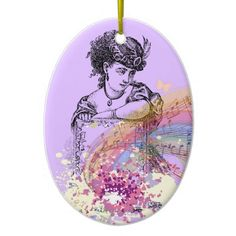 Victorian Lady Music ColorSplash Oval Ornament by #MoonDreamsMusic #OvalOrnament #ChristmasOrnament #VictorianLady #MusicNotes