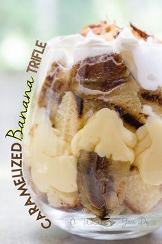 caramel banana, banana trifl, dessert recipes, mouth, trifle desserts