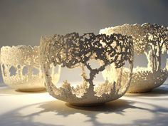 ceramics by Barry Guppy / 2010. Tree bowls. Organic, intricate negative space and a cast shadow that is lovely.