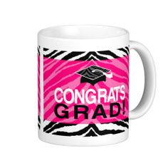 Hot Pink Zebra Congrats Girl's Graduation Party Mugs, fill with candy, treats or other gifts for her. #classof2014 #graduation #gradparty @Zazzle Inc.