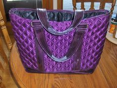 Marc Jacobs Tote Bag Quilted Purple Flawed Handles