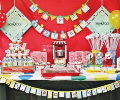 game-night-party-ideas-dessert-table  Game Night theme - blue and gold banquet