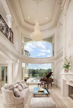 interior, living rooms, custom homes, window, dream homes, high ceilings, hous, live room, piano room