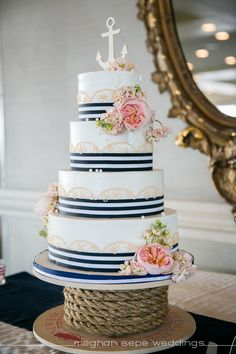 nautical, blue and white stripe cake, flowers, anchor topper, lace piping