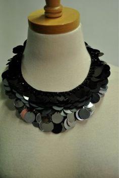 Miu Miu Circle Paillette Beaded Satin Bib Necklace w/Ribbon Tie