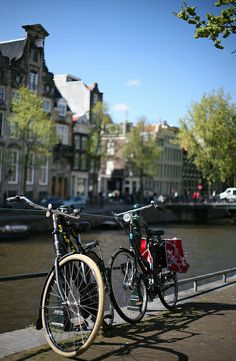 Biking along the canals in Amsterdam, Netherlands