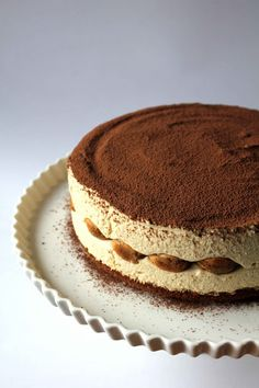 Tiramisu Cheesecake. (prob. without the gingersnap crumbs -- more ladyfingers?) Also spike it.