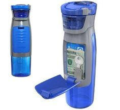 Water Bottle With Compartment: With it's nifty built-in storage compartment, the Kangaroo water bottle is the simple solution to staying hydrated and also keeping your keys, ID, and money on you when you go running. The Kangaroo bottle comes in a wide variety of colors as well.