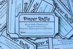 Blue Printable Baby Shower Diaper Raffle Ticket