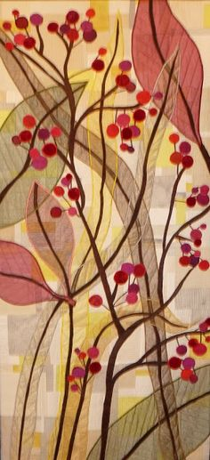 """Sue Garman wrote, """"Carol Taylor of Pittsford, New York, used transparent organza leaves and berries, appliqued with satin stitching on a background, and quilted extensively to create more texture, in Bountiful."""""""