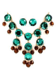 Paris Green Bubble Necklace Set