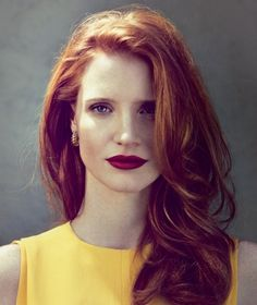 Jessica Chastain jessica chastain, hair colors, red hair, shades of red, hair makeup, red lips, dark lips, redhead, hair looks