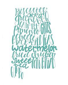 Calligraphy Alabama State Print, Southern Food, 8x10 print, various colors