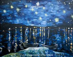Van Gogh Starry Night Over the Rhone Painting - Jackie Schon, The Paint Bar