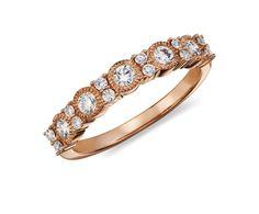 Vintage Beaded Diamond Ring in 14k Rose Gold #BlueNile