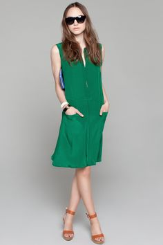 Green Viv Dress, Caramel Wedge, Cuff Bracelets, Blue Wallet, Black Sunglasses