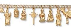 "Religious Charm Bracelets – 14k Gold Nativity Charm Bracelet 7 1/2 """
