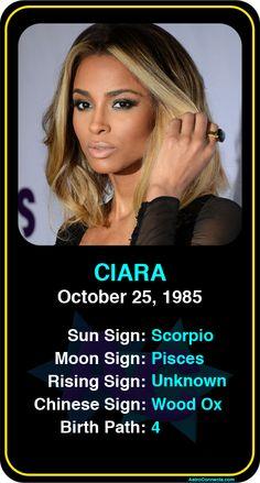 Celeb #Scorpio birthdays: Ciara's astrology info! Sign up here to see more: https://www.astroconnects.com/galleries/celeb-birthday-gallery/scorpio #astrology #horoscope #zodiac #birthchart #natalchart #ciara