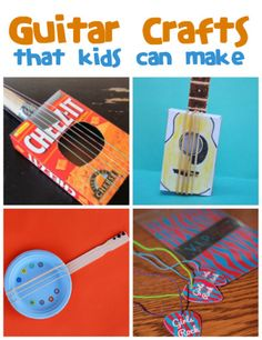 Guitar Crafts for Kids from @funfamilycrafts - April is National Guitar Month, so what better way to talk about music with your kids than with a fun guitar craft project?