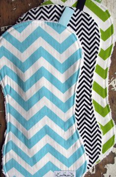 Chevron Baby Burp Cloths - Set of 3 - Gender Neutral for Baby Girl or Baby Boy