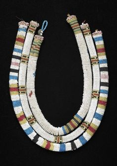 South Africa | Necklaces from the Zulu people | Glass beads, plant fiber, brass | ca. 1915