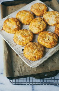 Herbed sweet potato and cream cheese biscuits.