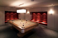 Pool Table Rooms Design- cool sitting in the walls with red velvet fabric!