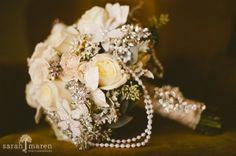 glamorous wedding bouquet idea, brooches, vintage weddings, wedding bouquets, pearls, roses, leaves, flowers, velvet